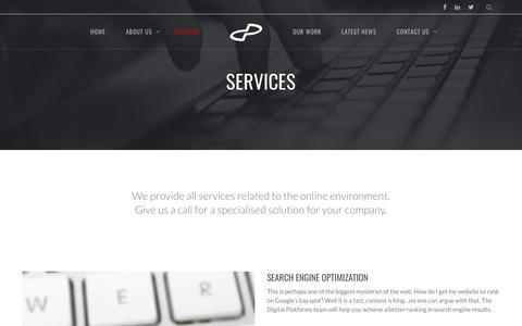 Screenshot of Services Page digitalplatforms.co.za - Digital Platforms Services - Web, Software & Apps - captured Aug. 7, 2018