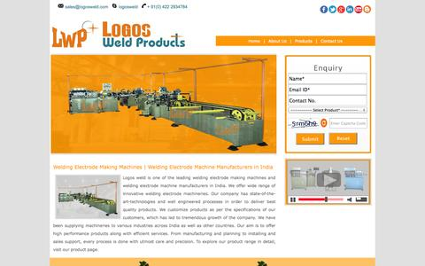 Screenshot of Home Page logosweld.com - Welding Electrode Making Machines | Welding Electrode Machine Manufacturers in India - captured Oct. 1, 2014