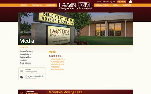 Screenshot of Press Page lavondrive.org - Media | Lavon Drive Baptist Church - captured Oct. 2, 2014
