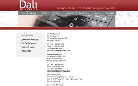 Screenshot of Contact Page daliwireless.com - Dali Wireless  » Contact Us - captured Sept. 13, 2014