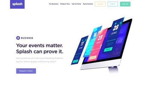 Screenshot of Home Page splashthat.com - Splash For Business - captured July 29, 2016