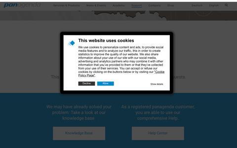 Screenshot of Support Page panagenda.com - Support - panagenda - captured Jan. 12, 2020