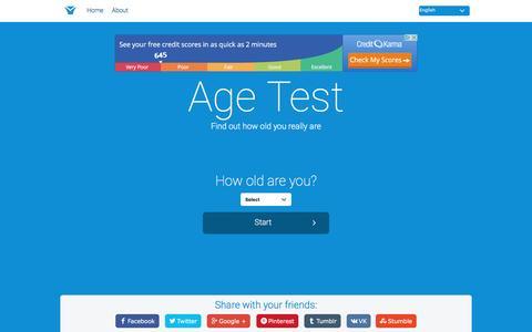 Screenshot of Home Page age-test.com - Age Test - captured June 25, 2016