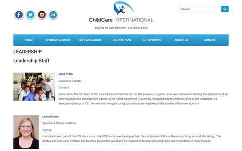 Screenshot of Team Page childcareinternational.ca - Leadership | ChildCare INTERNATIONAL – Child Sponsorship Organization - captured Dec. 14, 2018