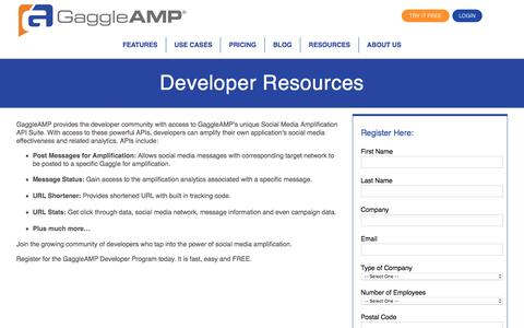 Screenshot of Developers Page gaggleamp.com - Developer Resources | GaggleAMP - captured Oct. 9, 2016
