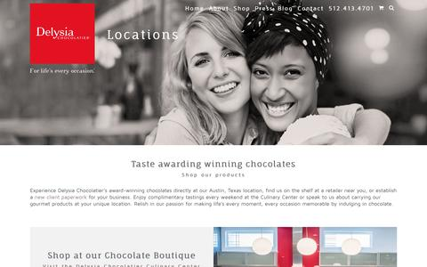 Screenshot of Locations Page delysia.com - Find Delysia Chocolatier on Shelves at Local Chocolate Shops - captured Nov. 24, 2016
