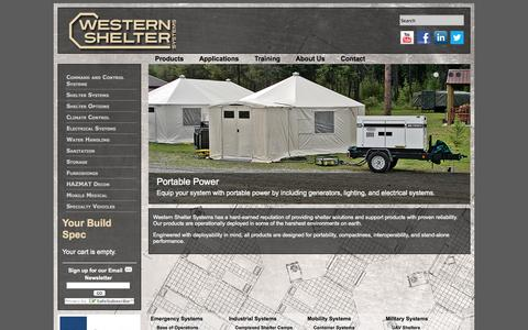 Screenshot of Products Page westernshelter.com - Shelters and Logistical Support Equipment | Western Shelter Systems - captured Oct. 9, 2014
