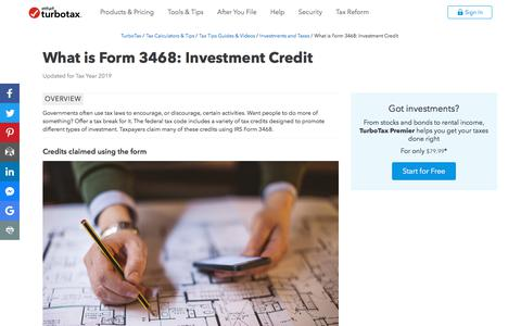 Screenshot of Pricing Page intuit.com - What is Form 3468: Investment Credit - TurboTax Tax Tips & Videos - captured Nov. 21, 2019