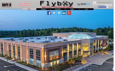 Screenshot of Home Page flyboync.com - Flyboy Aerial Photography, Videography, and Cinematography - captured Sept. 11, 2015