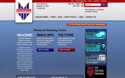 Screenshot of Home Page memorialshootingcenter.com - Shooting Range, Gun Store, Handguns for Sale in Houston TX | MSC - captured Sept. 30, 2014