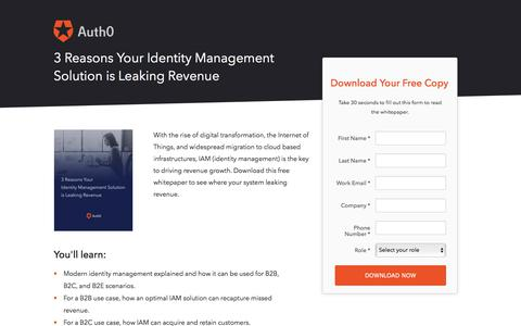 Screenshot of Landing Page auth0.com - 3 Reasons Your Identity Management Solution is Leaking Revenue | Auth0 - captured March 4, 2018