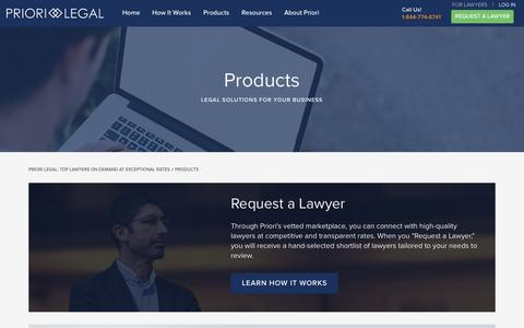 Screenshot of Products Page priorilegal.com - Products - Priori Legal - captured Jan. 31, 2016