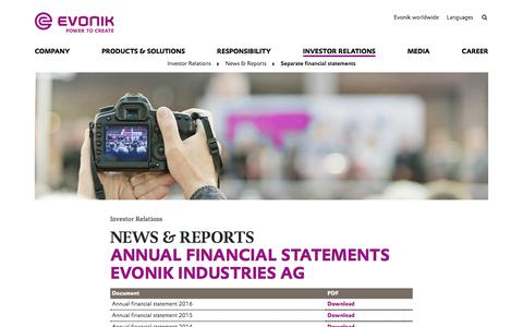 Separate financial statements - Evonik Industries AG