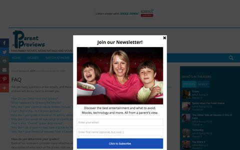 Screenshot of FAQ Page parentpreviews.com - FAQ - captured July 12, 2019
