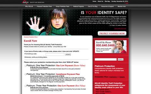 Screenshot of Signup Page solusid.com - Member Enrollment | SOLUS Identity Theft Protection - captured Nov. 2, 2014