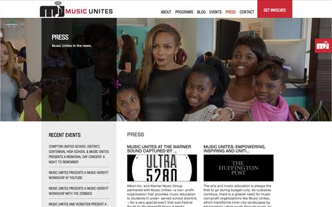 Screenshot of Press Page musicunites.org - Press | Music Unites - captured Oct. 10, 2014