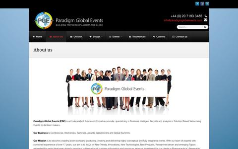 Screenshot of About Page paradigmglobalevents.com - About us - Paradigm Global Events - captured Sept. 23, 2014