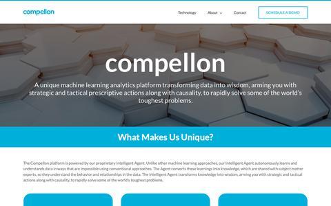 Screenshot of Home Page compellon.com - Compellon - Prescriptive Analytics Platform - Deeper Discovery, Strategic Focus, and Tactical Actions - captured Sept. 29, 2018