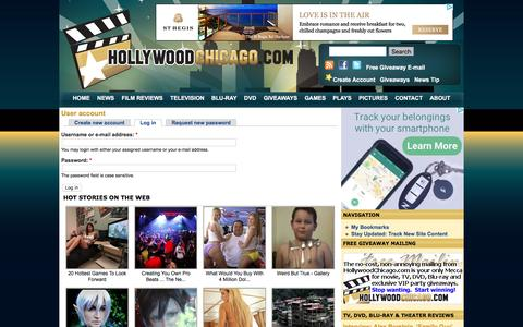 Screenshot of Login Page hollywoodchicago.com - User account - captured Jan. 14, 2016