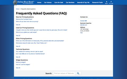 Screenshot of FAQ Page kbb.com - FAQs - Frequently Asked Questions - Kelley Blue Book - captured Aug. 9, 2017