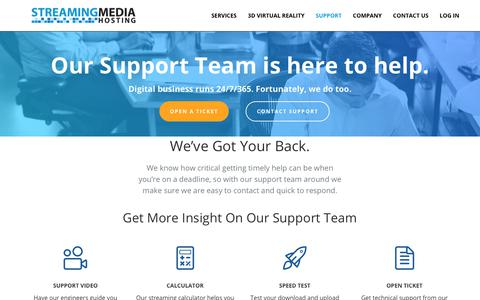 Screenshot of Support Page streamingmediahosting.com - Streaming Media Hosting's experts are standing by 24/7 - captured June 17, 2017