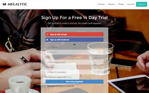 Screenshot of Signup Page Trial Page megalytic.com - Megalytic | Sign Up For a 14 Day Trial - captured Oct. 27, 2014