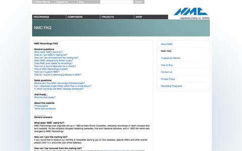 Screenshot of Privacy Page FAQ Page Terms Page nmcrec.co.uk - NMC FAQ   NMC Recordings - captured Oct. 7, 2014