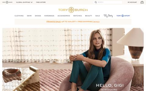 Screenshot of Home Page toryburch.com - Women's Clothing, Designer Shoes & Flats, Handbags & Accessories   Tory Burch - captured Aug. 19, 2016