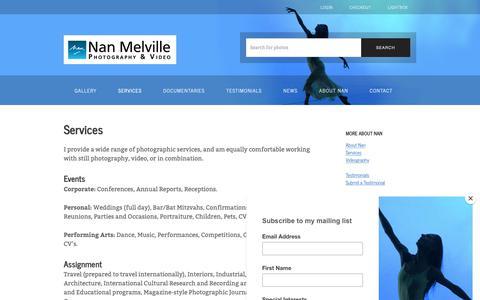 Screenshot of Services Page nanmelville.com - Services – Nan Melville - captured Dec. 20, 2018