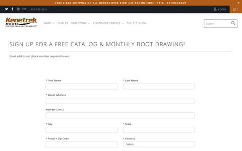 Screenshot of Signup Page kenetrek.com - Sign up for a free catalog & monthly boot drawing! - Kenetrek Boots - captured Dec. 20, 2018