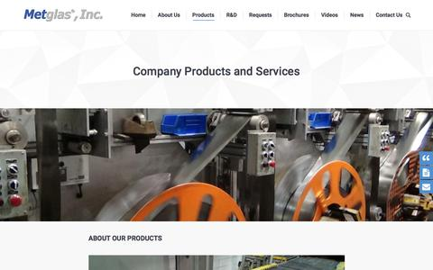 Screenshot of Products Page metglas.com - Our Company Products and Services from Metglas®, Inc. - captured Oct. 18, 2017