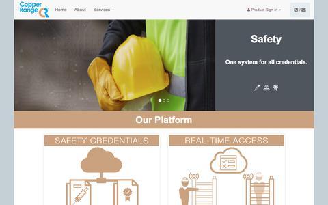 Screenshot of Home Page copperrange.com - Copper Range - captured July 20, 2018