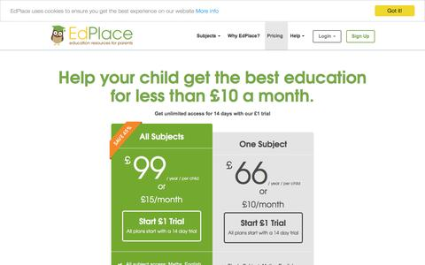 Screenshot of Pricing Page edplace.com - Pricing - Home Education Resources - Primary & Secondary - National Curriculum - captured Oct. 25, 2016