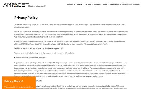 Screenshot of Privacy Page ampacet.com - Privacy Policy   AMPACET CORPORATION - captured July 13, 2018