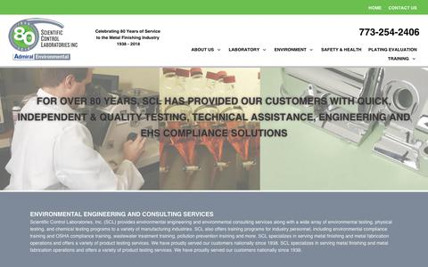 Screenshot of Home Page sclweb.com - Scientific Control Laboratories | Environmental Testing & Engineering Services, Materials Testing and Compliance Training - captured Dec. 16, 2018