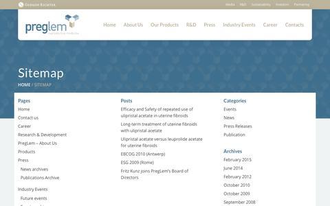 Screenshot of Site Map Page preglem.com - Sitemap - PregLem.com - captured July 19, 2017