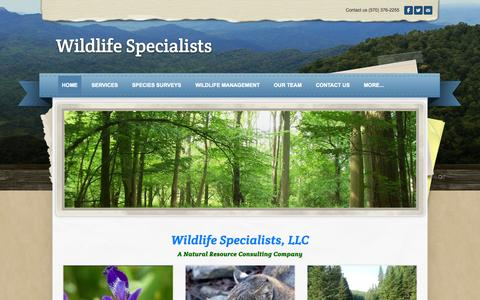 Screenshot of Home Page wildlife-specialists.com - Wildlife Specialists - the wildlife experts - captured Sept. 30, 2014