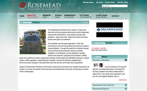 Screenshot of About Page rosemeadchamber.org - Chamber History - captured Oct. 7, 2014