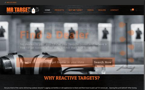 Screenshot of Home Page mrtargetonline.com - Armored Steel Reactive Shooting Targets - Mr Target - captured Nov. 18, 2016