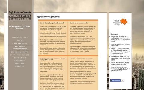 Screenshot of Case Studies Page lifescienceconsult.com - Life Science Business Development  & Executive Search - Case Studies - captured Sept. 30, 2014