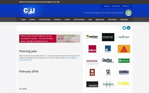 Screenshot of Jobs Page contractflooringjournal.co.uk - Flooring jobs - captured Feb. 12, 2016
