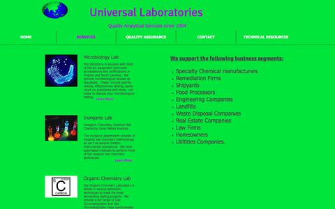Screenshot of Services Page universallaboratories.net - Analytical and Field Services - captured July 14, 2018