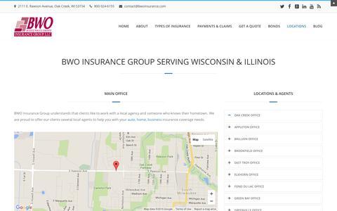 Screenshot of Locations Page bwoinsurance.com - BWO Insurance Main OfficeBWO Insurance Group - Professional Insurance Agency in Wilwaukee - captured Feb. 7, 2016