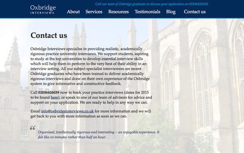 Screenshot of Contact Page oxbridgeinterviews.co.uk - Oxbridge Interviews Contact us - Oxbridge Interviews - captured Aug. 14, 2016