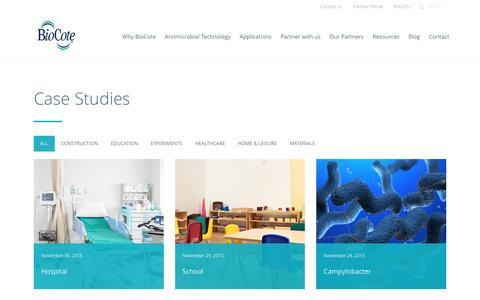 Screenshot of Case Studies Page biocote.com - Case Studies Archive   BioCote - captured Feb. 7, 2016