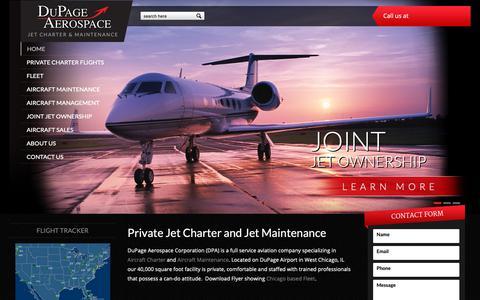 Screenshot of Home Page dupageaerospace.com - Private Jet, Jet Charter, Air Charter   DuPage Aerospace - captured Nov. 14, 2018