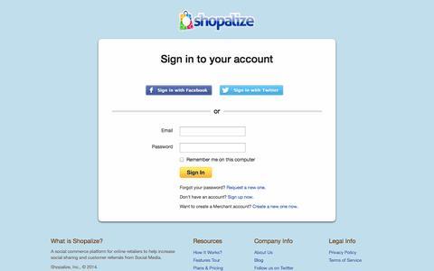 Screenshot of Login Page shopalize.com - Social Commerce Platform for Online Retailers - Social Marketing Solution from Shopalize - captured Oct. 7, 2014