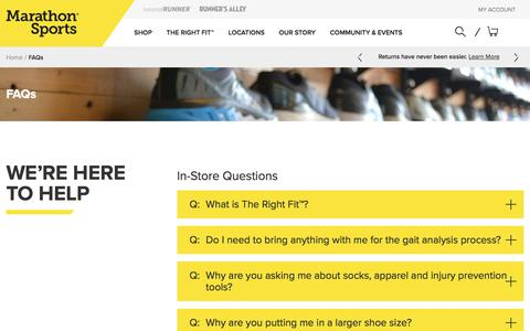 Screenshot of FAQ Page marathonsports.com - FAQs   Marathon Sports - captured June 22, 2018