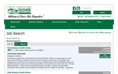 Screenshot of Jobs Page dovernh.org - Job Search - Greater Dover Chamber of Commerce, NH - captured Nov. 13, 2016
