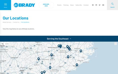 Screenshot of Locations Page bradyservices.com - Locations Across the Southeast | Commercial HVAC | Brady - captured July 28, 2018